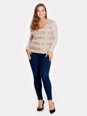 Пуловер бежевый с декором | 5211741