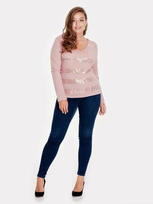 Пуловер фрезовий кольору з декором | 5211743