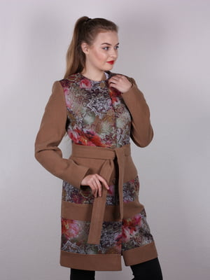 Пальто коричневое в принт   5205229