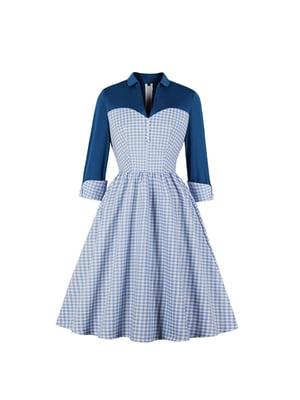 Платье голубое в клетку | 5214330