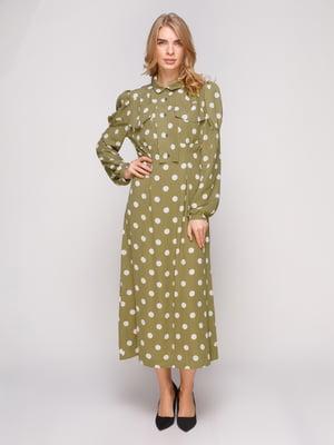 Платье зеленое в горошек | 5213145