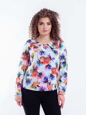 Блуза белая в цветочный принт | 5216745