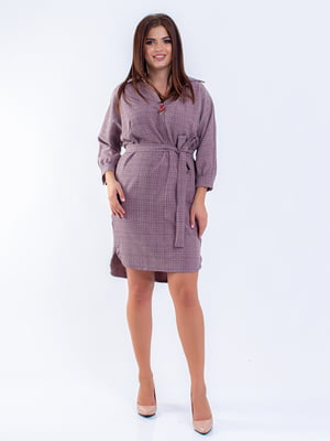 Сукня кольору пудри картата | 5216752