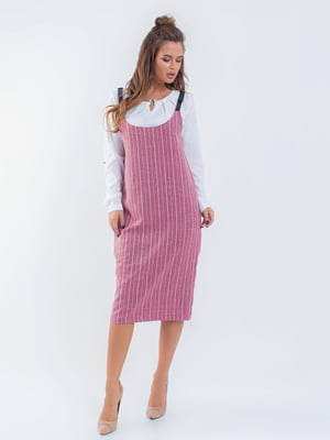 Сарафан розовый полосатый | 5216756