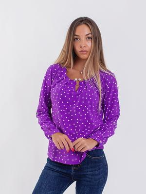 Блуза фиолетовая в горошек | 5216772