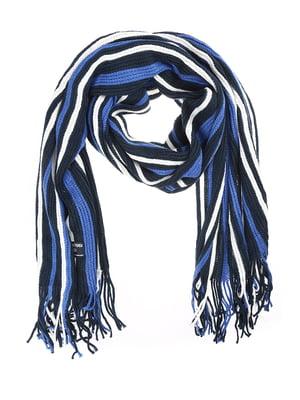 Шарф синій в смужку | 5217692
