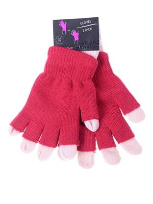 Перчатки красные двойные | 5217919