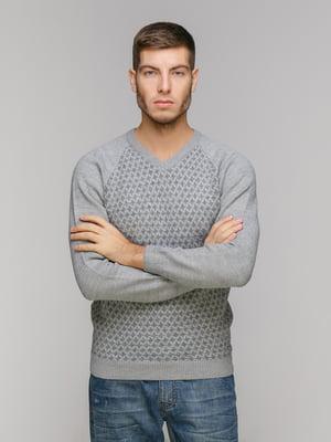 Пуловер серый в принт | 5211472