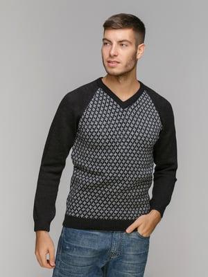 Пуловер черный в принт | 5211470