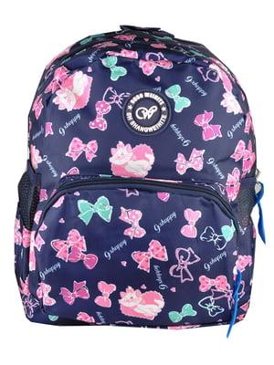 Рюкзак синий с принтом | 5219761