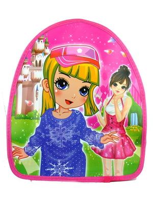 Рюкзак розовый с принтом | 5219782