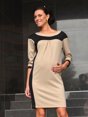 Платье бежево-черное | 1872501