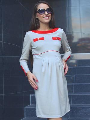 Платье бежевое с контрастной отделкой | 1905977