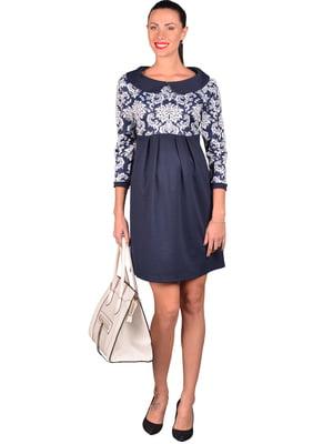 Платье синее в узор | 4860255