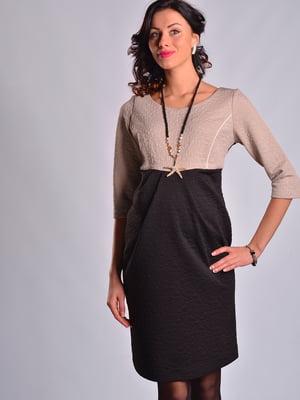 Платье бежево-черное | 4860258