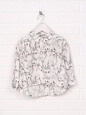 Рубашка белая в принт | 5217106