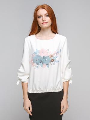 Блуза молочного цвета с принтом | 5216651