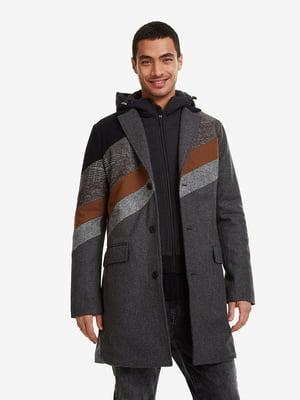 Пальто серое в принт | 5203096