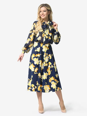 Платье синее с цветочным принтом | 5224307