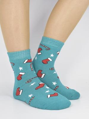 Шкарпетки бірюзові з малюнком | 5226243