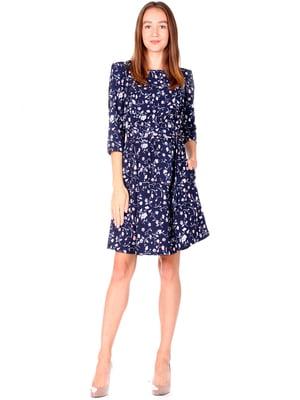 Сукня синя з принтом | 5227606