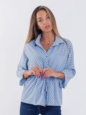 Рубашка голубая с принтом | 5227695