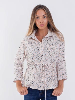 Рубашка пудровая с принтом | 5227696