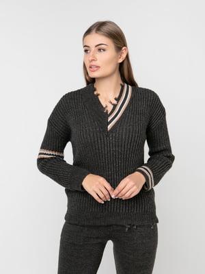 Пуловер темно-серый | 5237695