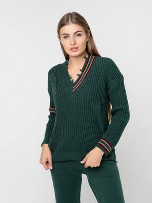 Пуловер темно-зелений | 5237696