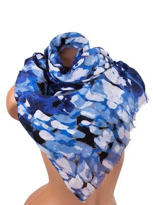 Палантин синьо-блакитний з принтом | 5241611
