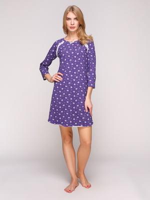 Сорочка нічна фіолетова з принтом | 5241787