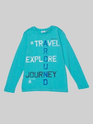 Пуловер голубой с принтом | 4057391