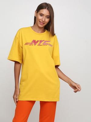 Футболка желтая с принтом | 5246463