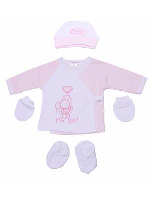 Комплект: сорочечка, шапочка, пінетки і царапки | 5246841