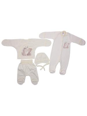 Комплект: сорочечка, повзунки, чоловічок і шапочка | 5246853