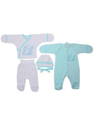 Комплект: сорочечка, повзунки, чоловічок і шапочка | 5246854