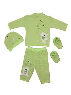 Комплект: кофта, брюки, шапка и пинетки | 5246855