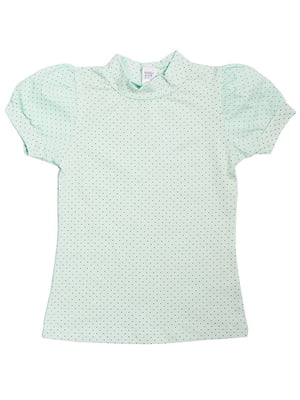 Блуза кольору ментолу в горох | 5247892