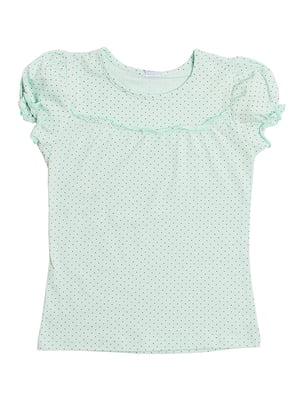 Блуза кольору ментолу в горох | 5247902