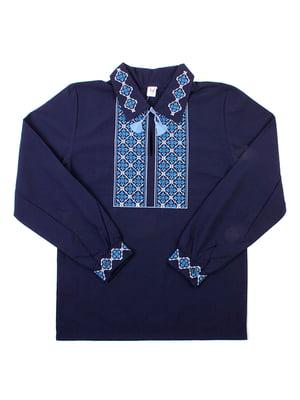 Рубашка-вышиванка синяя | 5248364