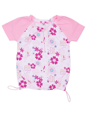 Блуза бело-розовая с цветочным принтом | 5248641