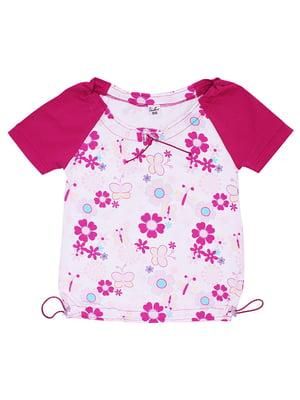 Блуза бело-малиновая с цветочным принтом | 5248642