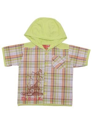 Рубашка салатовая в клетку | 5248697