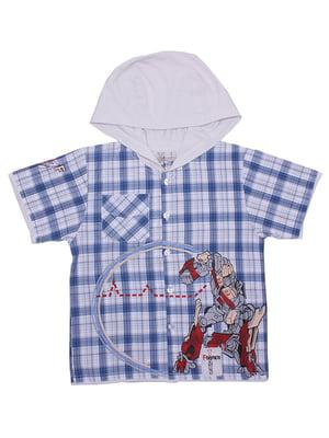 Рубашка белая в клетку | 5248699