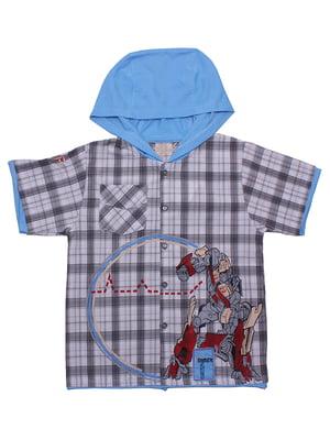 Рубашка голубая в клетку | 5248700