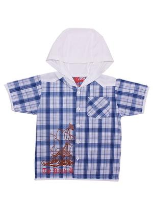 Рубашка белая в клетку | 5248701