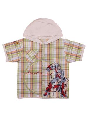 Рубашка бежевая в клетку | 5248702