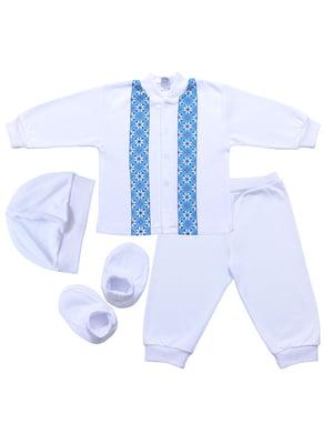 Комплект: кофта, брюки, шапка и пинетки | 5249276