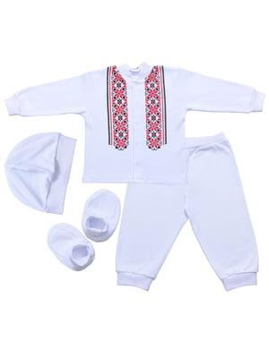 Комплект: кофта, брюки, шапка и пинетки | 5249278