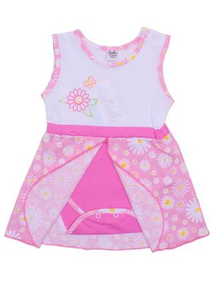 Сарафан-боді біло-рожевий | 5249481